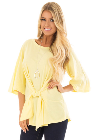 Sunshine Yellow Wrap Tie Front Top with Bell Half Sleeves front closeup