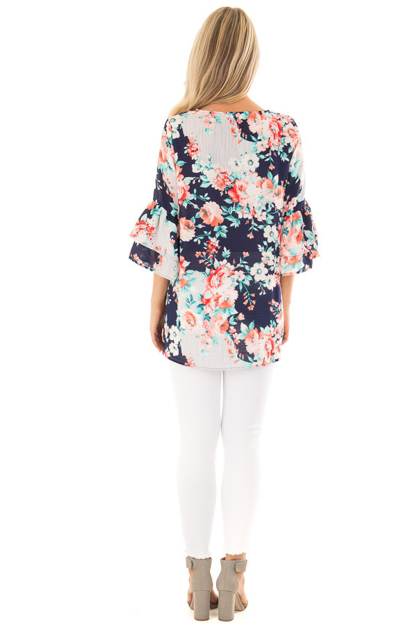 Navy Floral Loose Fit Top with Tiered Bell Sleeves back full body