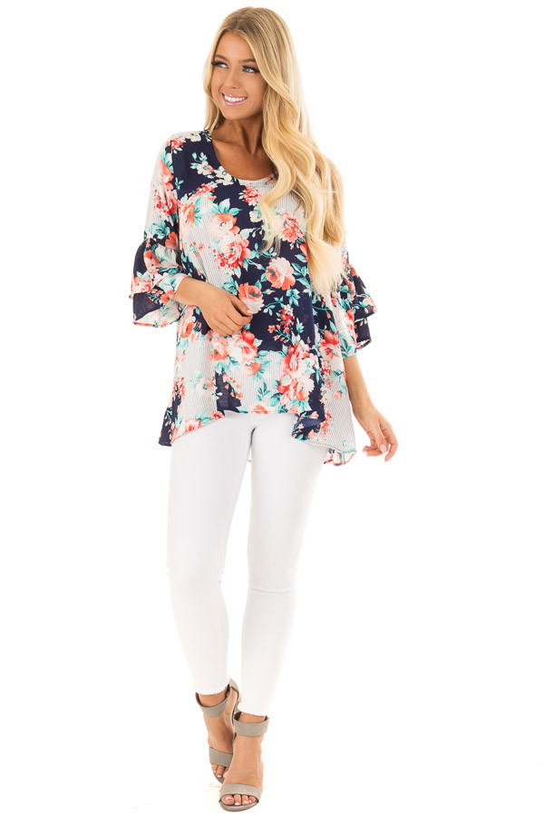 Navy Floral Loose Fit Top with Tiered Bell Sleeves front full body