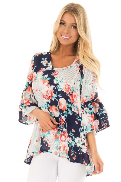 Navy Floral Loose Fit Top with Tiered Bell Sleeves front closeup