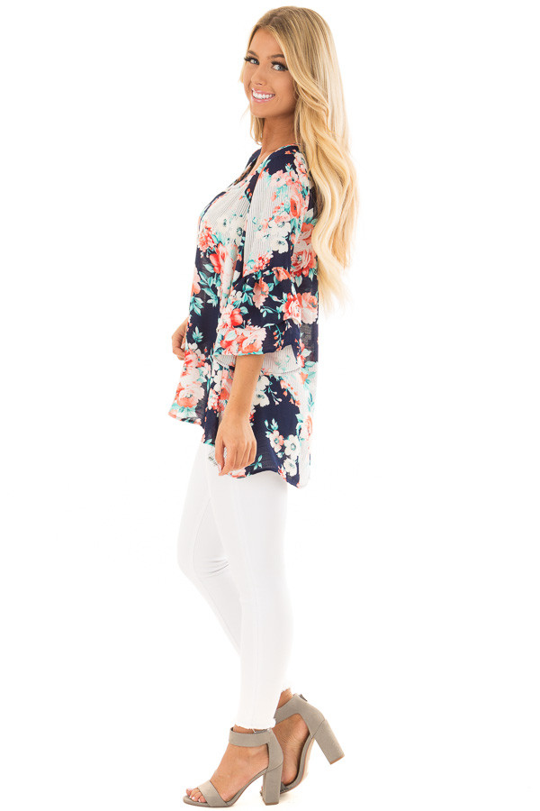 Navy Floral Loose Fit Top with Tiered Bell Sleeves side full body
