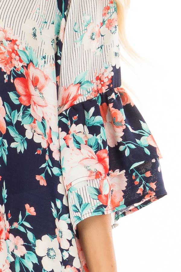 Navy Floral Loose Fit Top with Tiered Bell Sleeves front detail