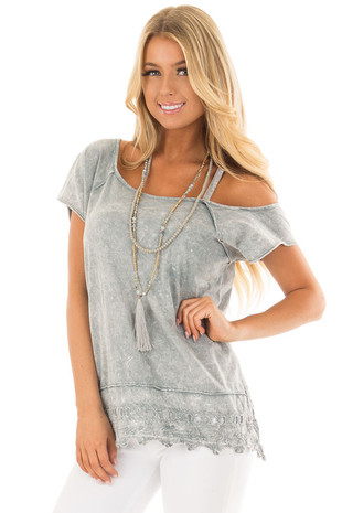 Grey Mineral Wash Open Shoulder Top with Crochet Detail front closeup
