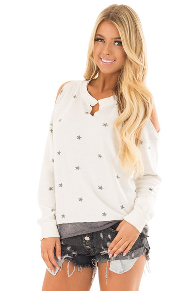 Ivory Cold Shoulder Top with Star Print and V Neckline front closeup