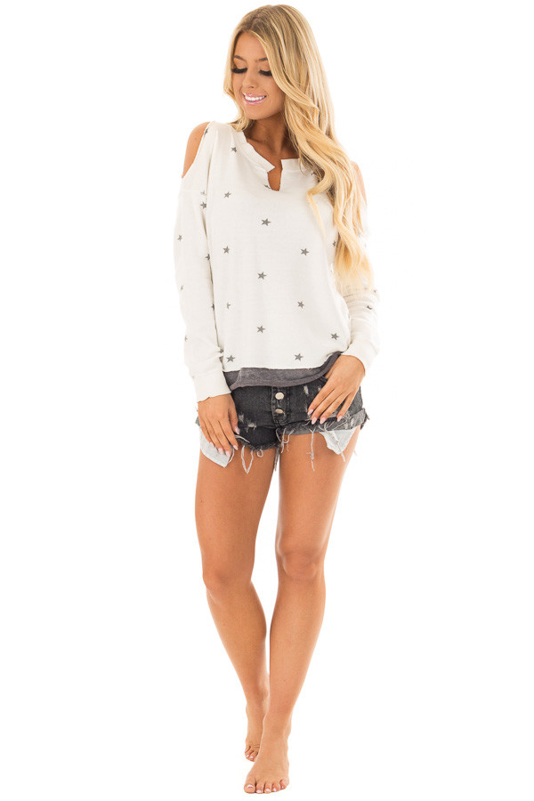 Ivory Cold Shoulder Top with Star Print and V Neckline front full body