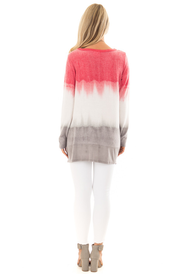 Rose and Grey Dip Dyed Soft Knit Long Sleeve Top back full body