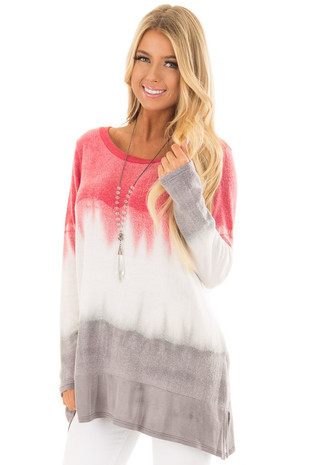 Rose and Grey Dip Dyed Soft Knit Long Sleeve Top front closeup