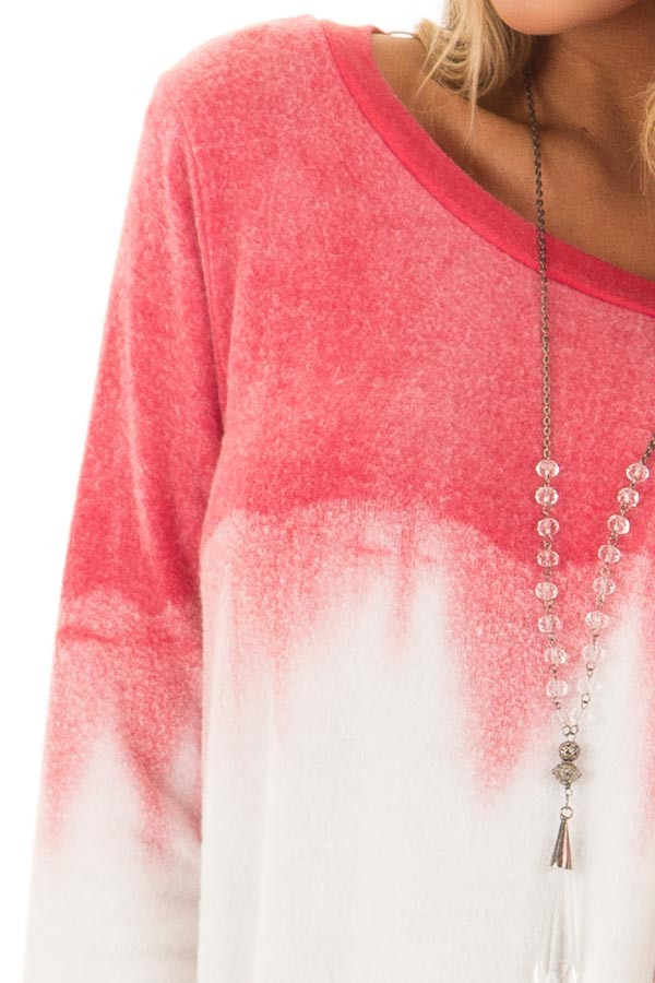 Rose and Grey Dip Dyed Soft Knit Long Sleeve Top front detail