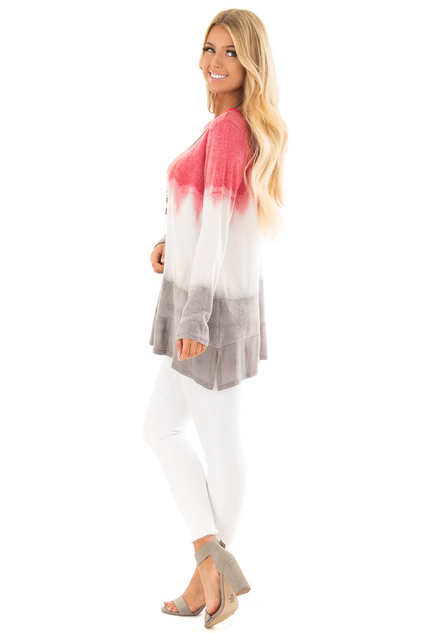 Rose and Grey Dip Dyed Soft Knit Long Sleeve Top side full body