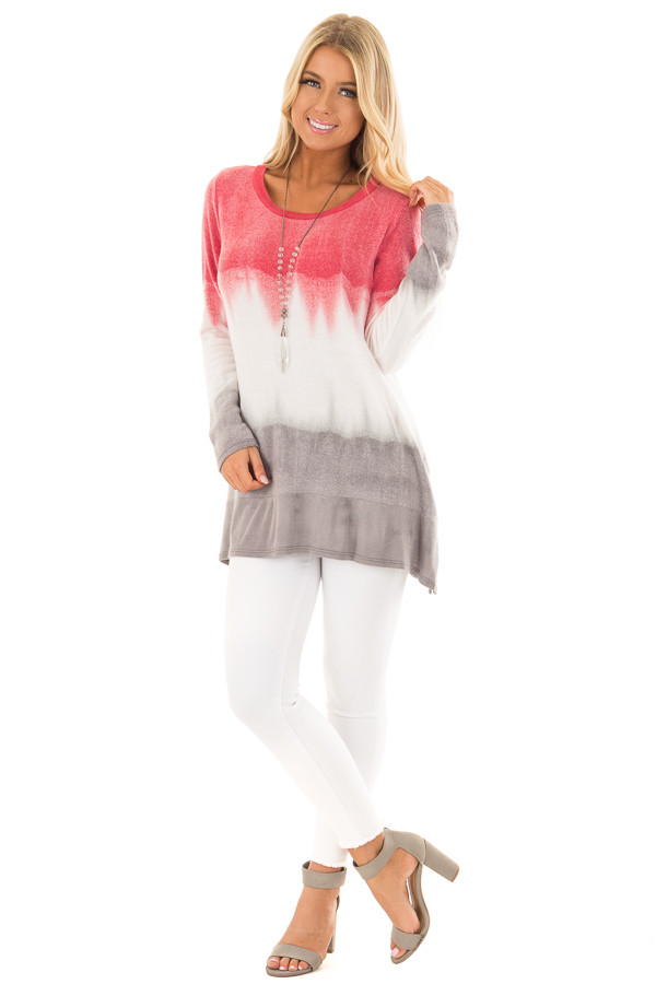 Rose and Grey Dip Dyed Soft Knit Long Sleeve Top front full body