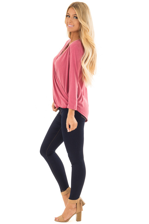 Deep Rose Crossover Drape Top with Criss Cross Neckline side full body