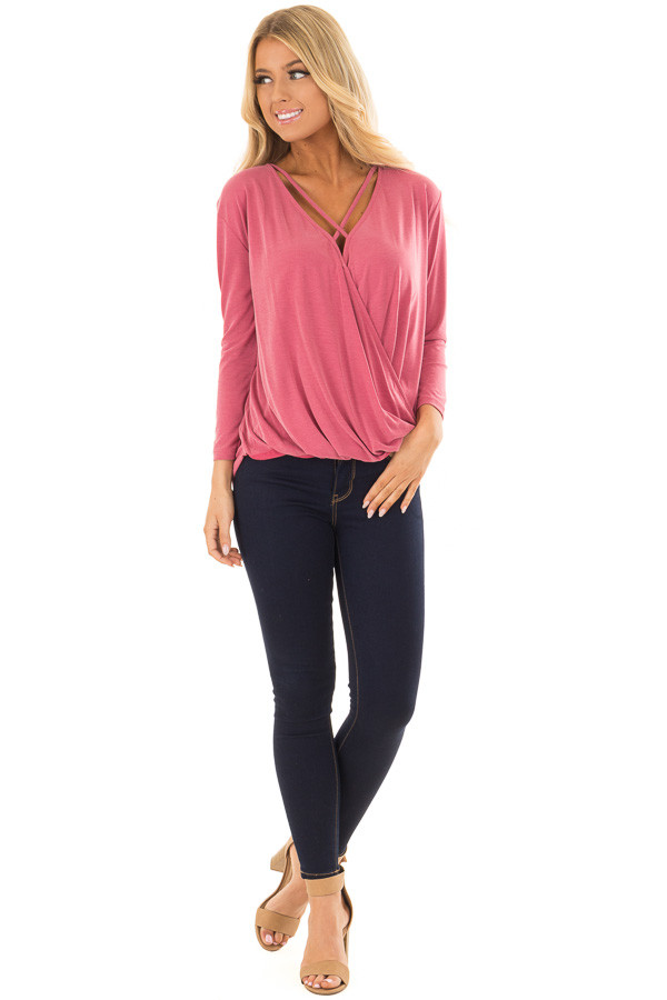 Deep Rose Crossover Drape Top with Criss Cross Neckline front full body