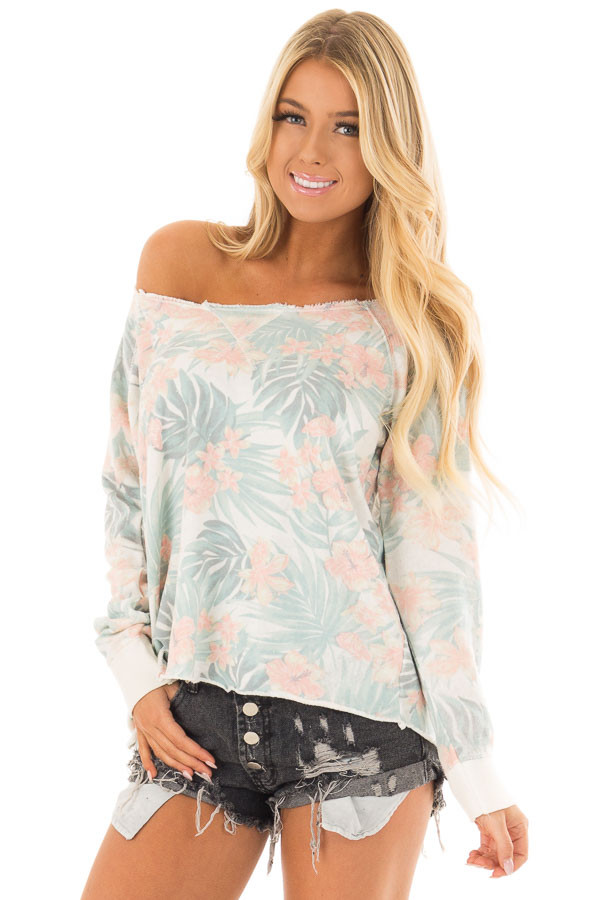 Faded Jade Hawaiian Tropical Sweater with Zipper Back front closeup