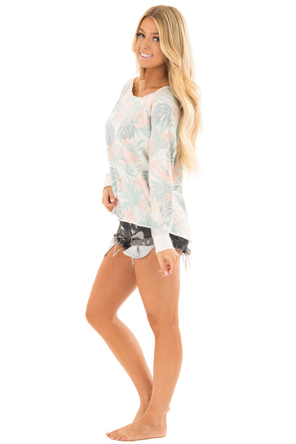 Faded Jade Hawaiian Tropical Sweater with Zipper Back side full body