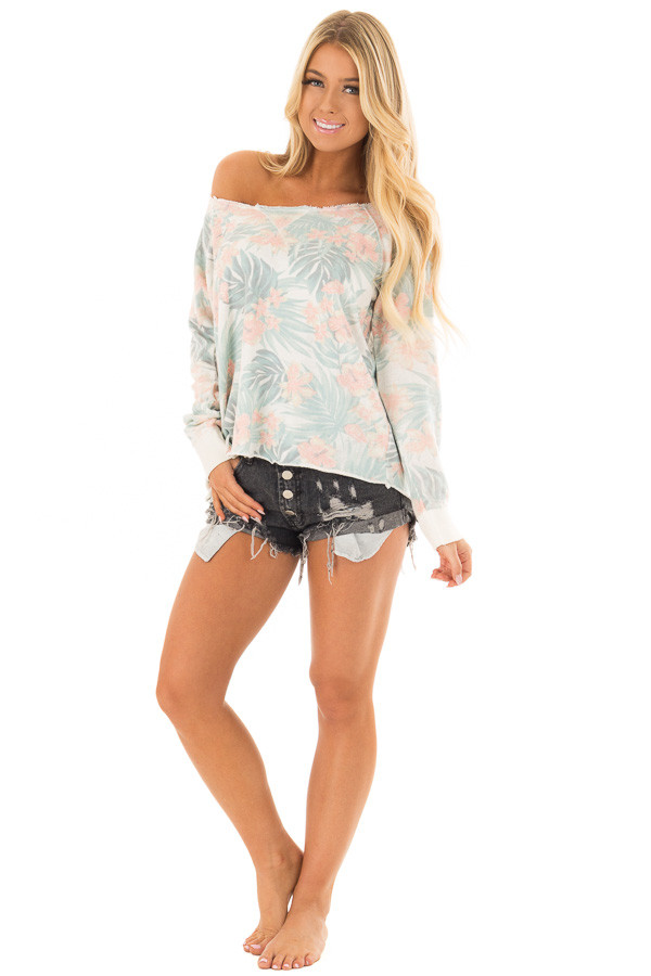 Faded Jade Hawaiian Tropical Sweater with Zipper Back front full body