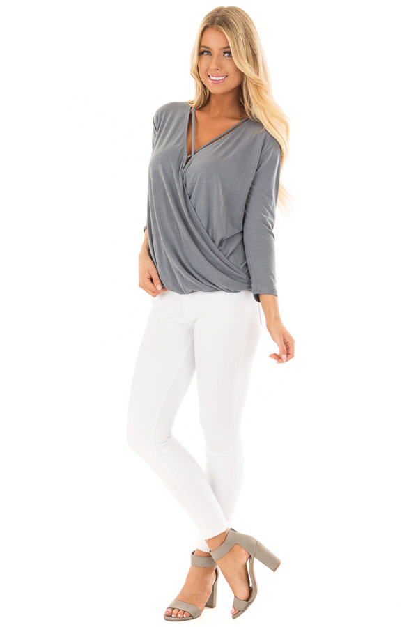 Steel Blue Crossover Drape Top with Criss Cross Neckline front full body