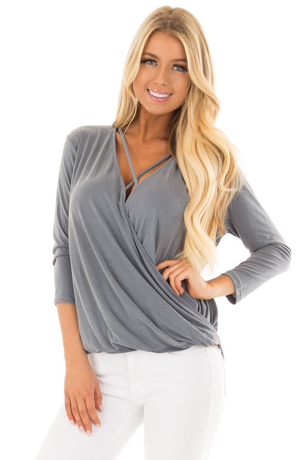 Steel Blue Crossover Drape Top with Criss Cross Neckline front closeup