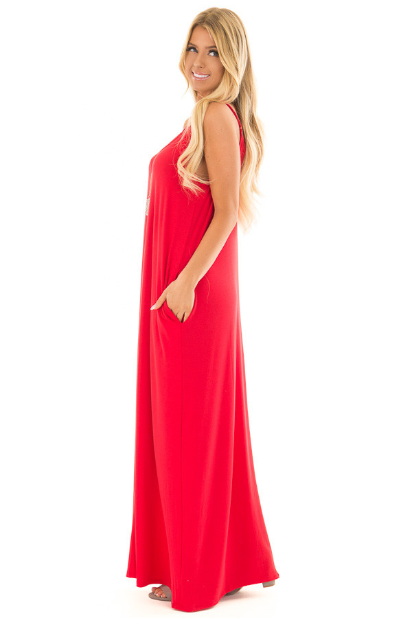 Ruby Sleeveless Cocoon Maxi Dress side full body