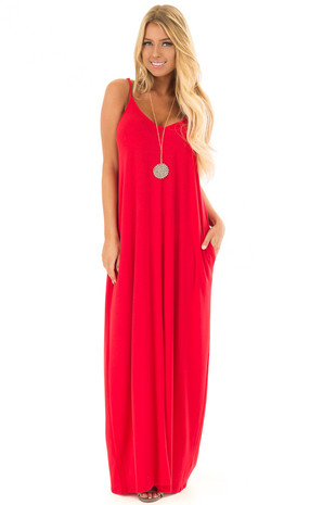 Ruby Sleeveless Cocoon Maxi Dress front full body