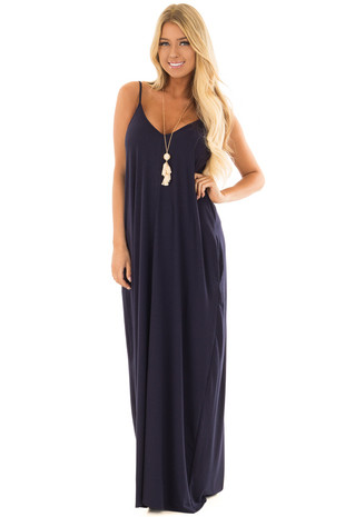 Navy Sleeveless Cocoon Maxi Dress front full body