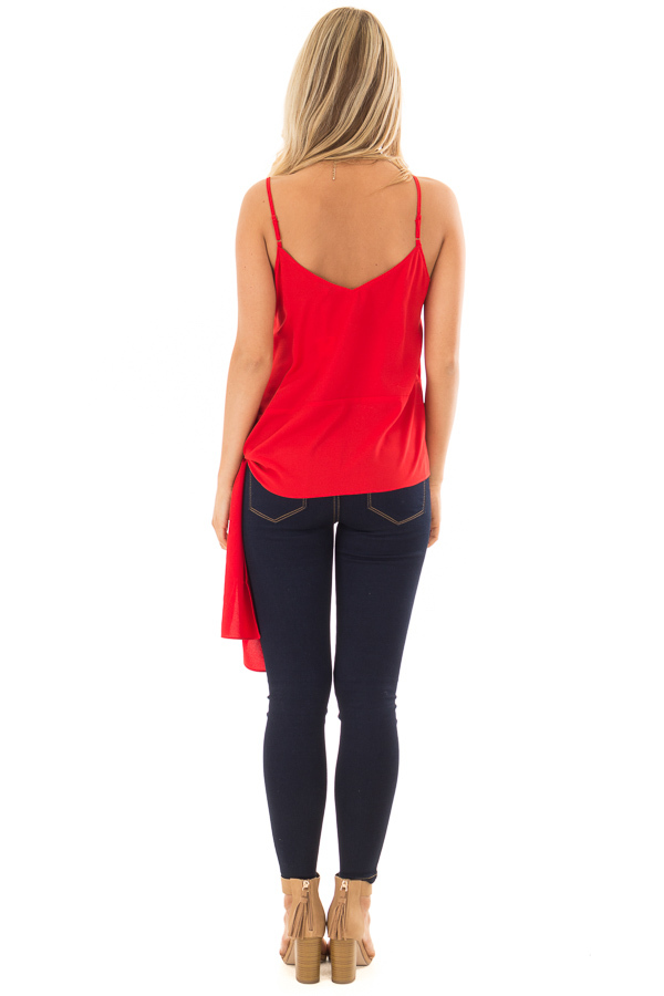 Cherry Red Spaghetti Strap Top with Side Tie Detail back full body