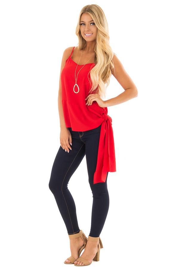 Cherry Red Spaghetti Strap Top with Side Tie Detail front full body