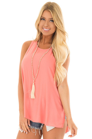 Georgia Peach Tank with Side Slits and Keyhole Back front closeup