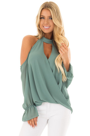 Frosted Emerald Cold Shoulder Surplice Top with Bell Sleeves front closeup