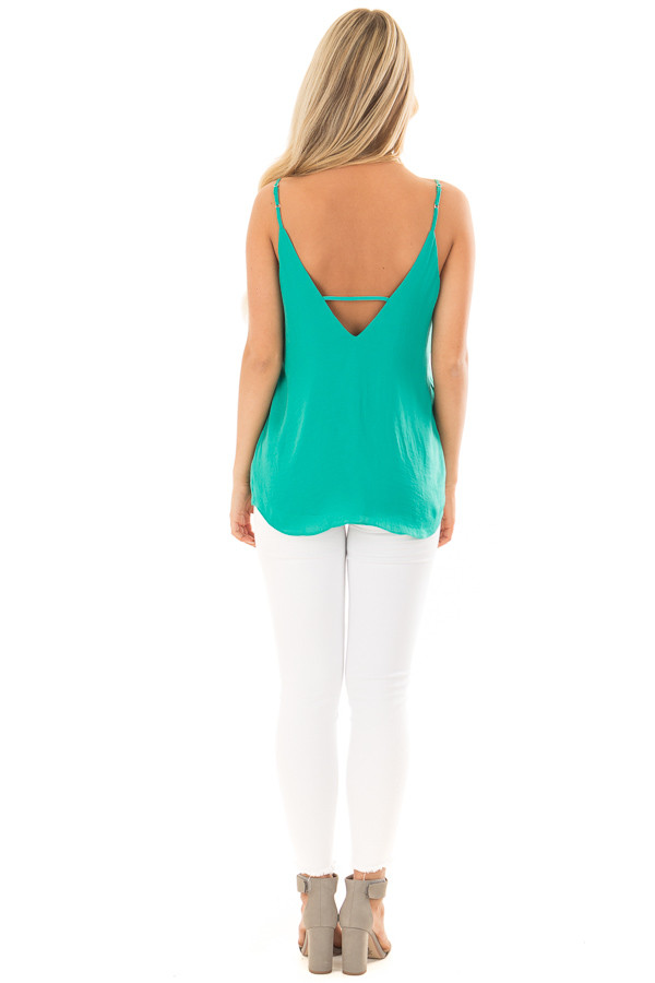 Sea Green Tank Top with Strap Details back full body