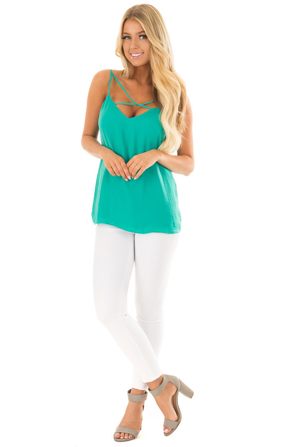 Sea Green Tank Top with Strap Details front full body