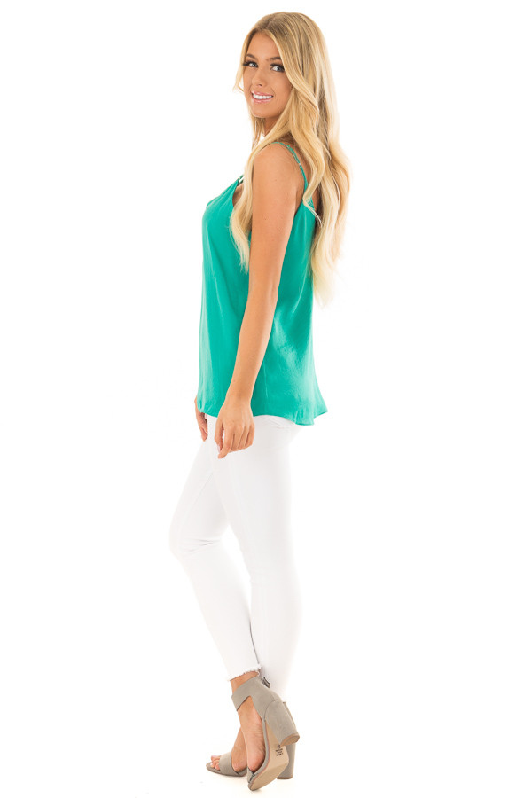 Sea Green Tank Top with Strap Details side full body
