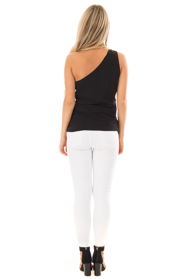 Black One Shoulder Top with Waist Tie back full body