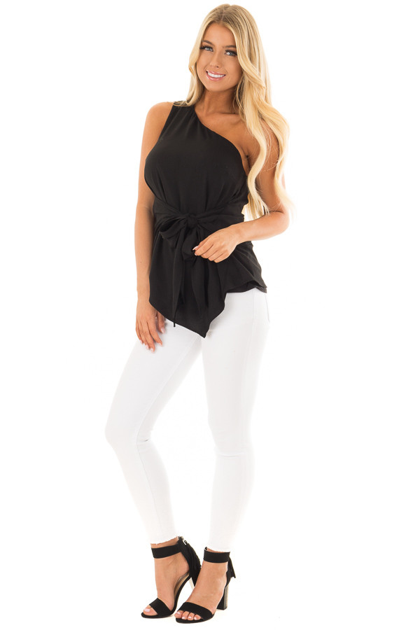 Black One Shoulder Top with Waist Tie front full body