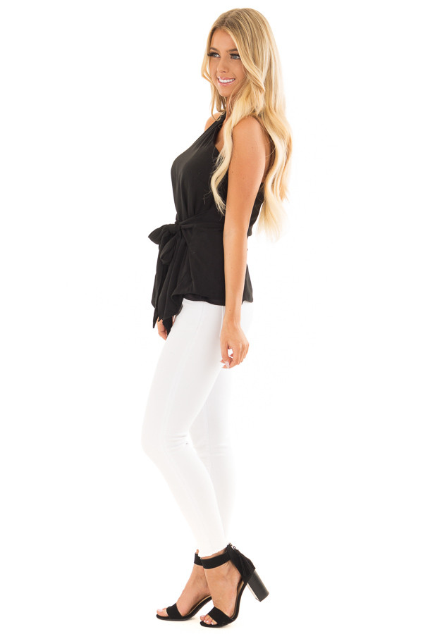 Black One Shoulder Top with Waist Tie side full body