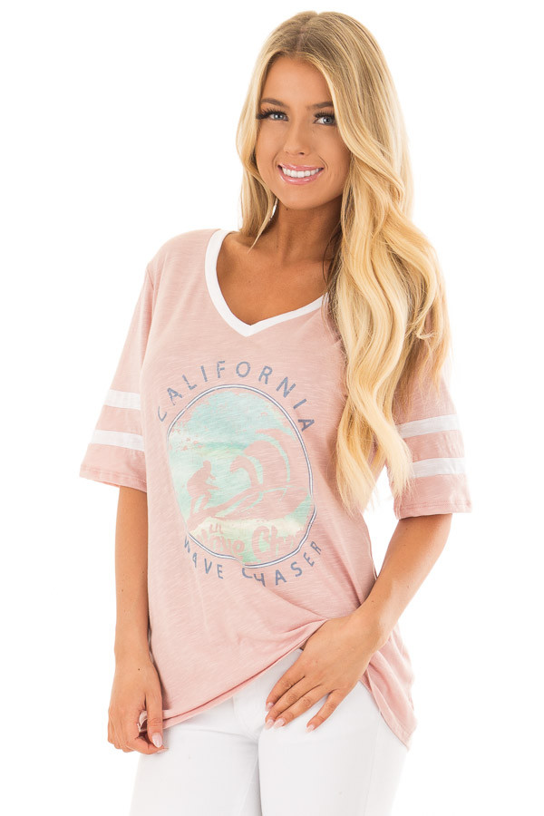 Blush 'California Wave Chaser' Graphic Tee front closeup