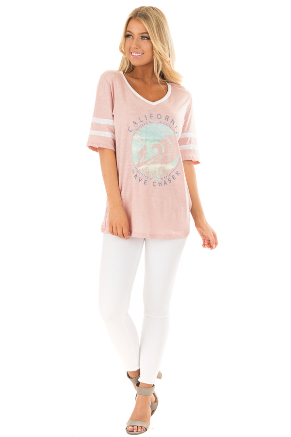 Blush 'California Wave Chaser' Graphic Tee front full body