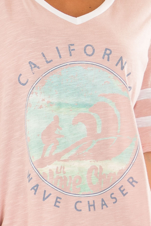 Blush 'California Wave Chaser' Graphic Tee front detail