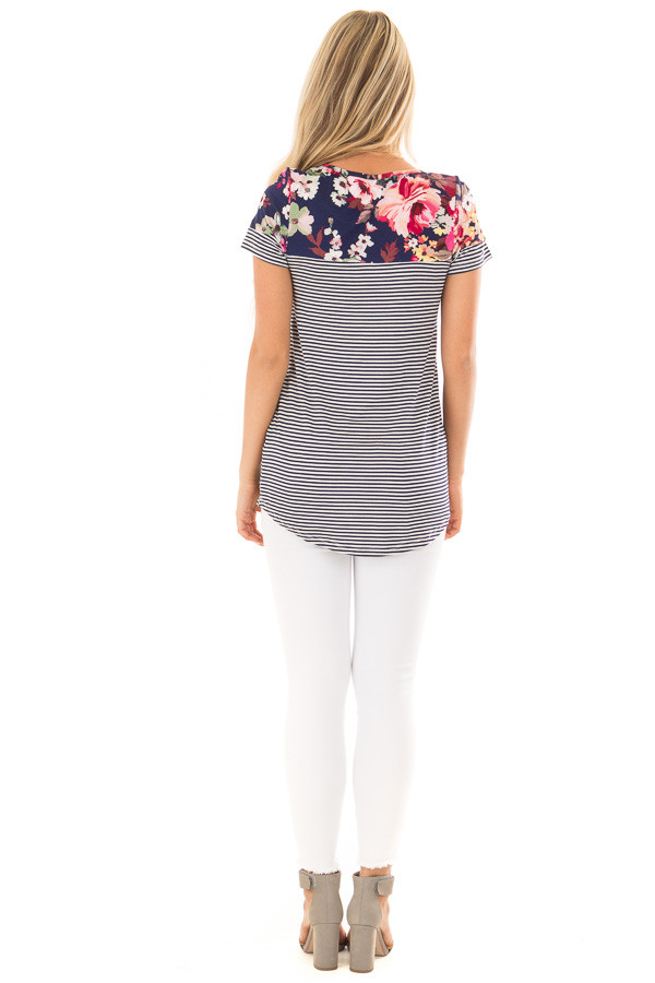 Navy Striped Short Sleeve Top with Floral Contrast back full body