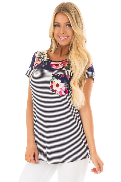 Navy Striped Short Sleeve Top with Floral Contrast front closeup
