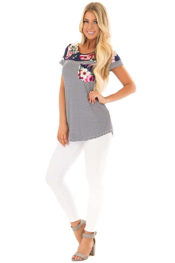 Navy Striped Short Sleeve Top with Floral Contrast front full body