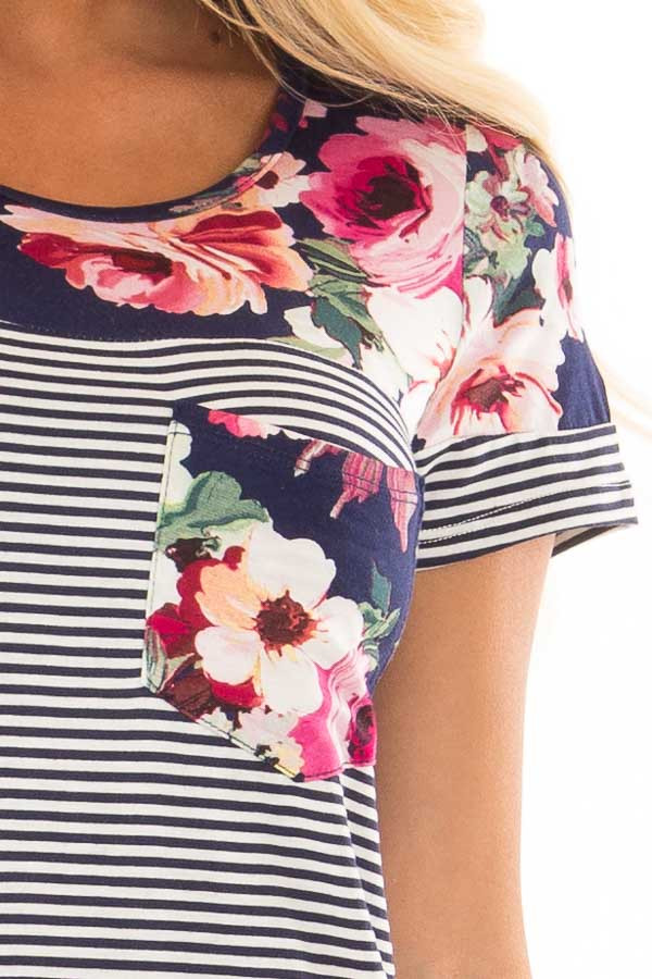 Navy Striped Short Sleeve Top with Floral Contrast front detail