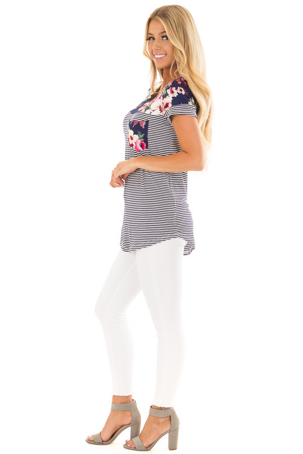Navy Striped Short Sleeve Top with Floral Contrast side full body