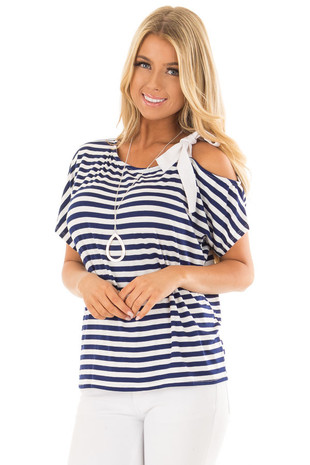 Navy Striped One Side Open Shoulder Top with Tie Detail front closeup