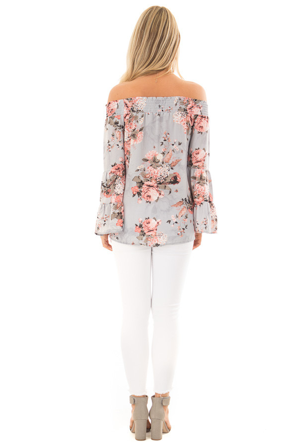 Ash Blue Floral Off the Shoulder Top with Bell Sleeves back full body