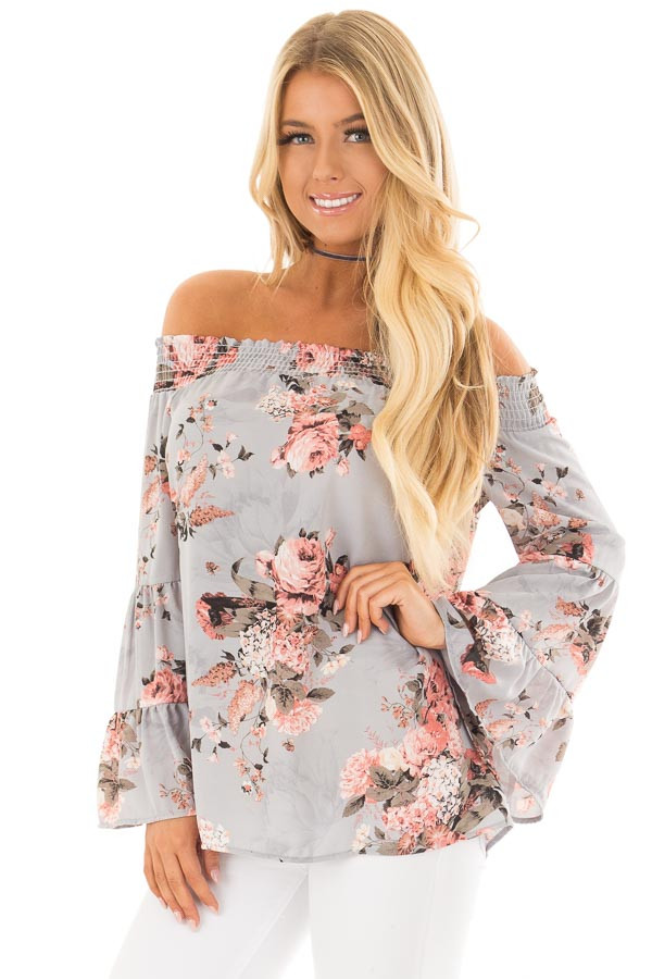 Ash Blue Floral Off the Shoulder Top with Bell Sleeves front closeup