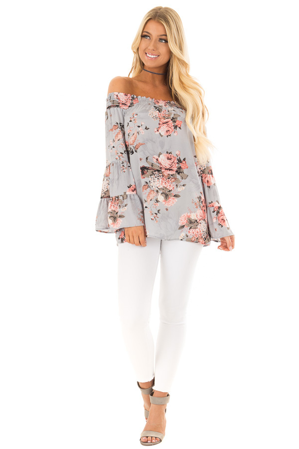Ash Blue Floral Off the Shoulder Top with Bell Sleeves front full body