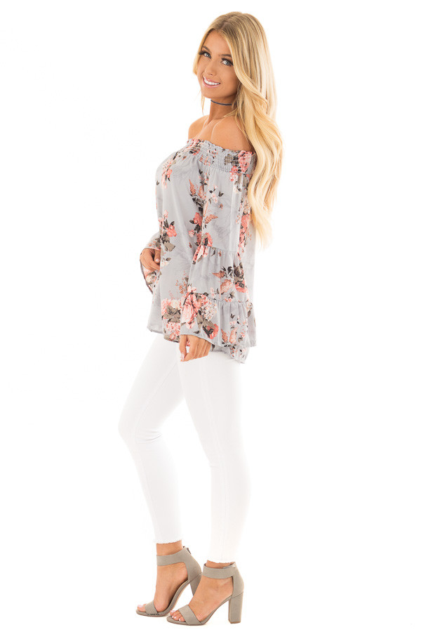 Ash Blue Floral Off the Shoulder Top with Bell Sleeves side full body
