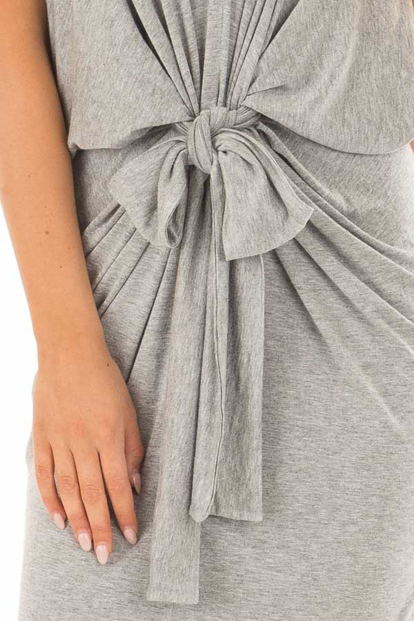 Heather Grey Spaghetti Strap Drape Dress with Front Tie front detail