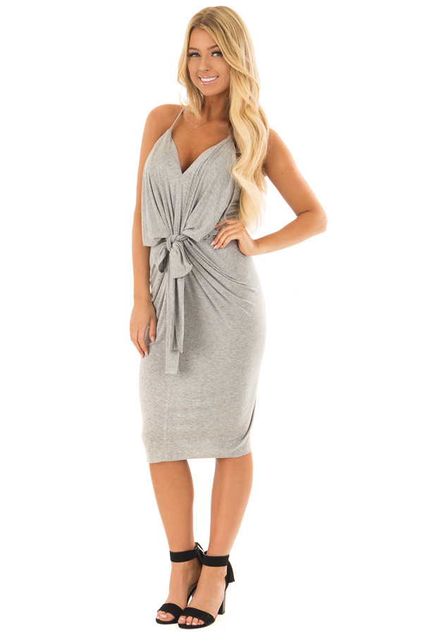 Heather Grey Spaghetti Strap Drape Dress with Front Tie front full body