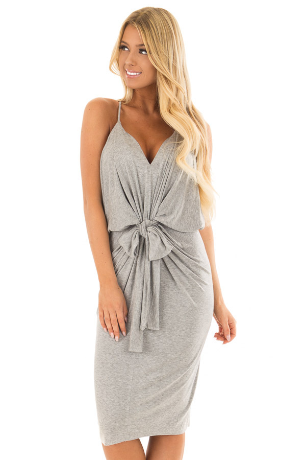 Heather Grey Spaghetti Strap Drape Dress with Front Tie front closeup